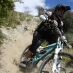 Downhill mountain biker at Dirt Park track, near Queenstown